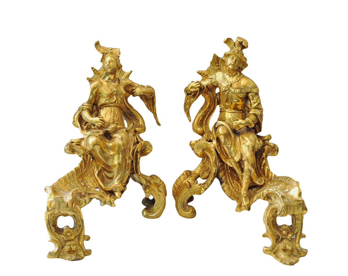 Fine Pair of Continental GIlt Bronze Figural Chenets