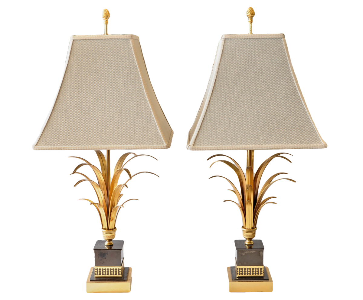 Pair of Gilt Bronze and Marble Palmate Lamps