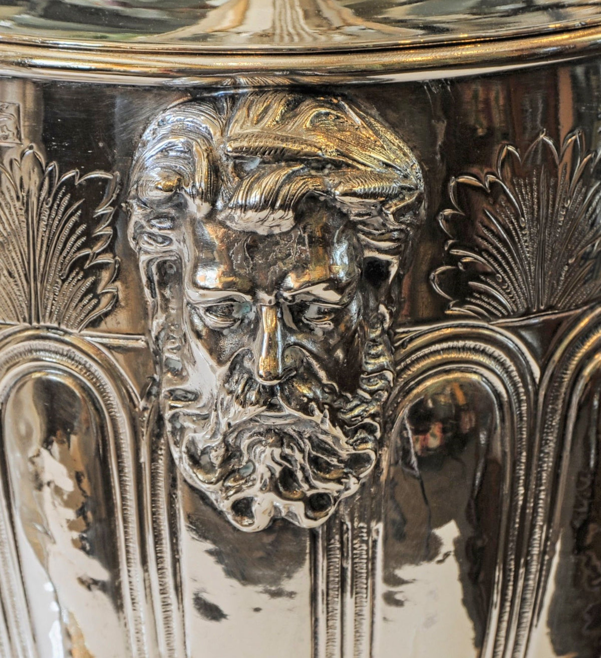 Pair of Magnificent English Silver Lidded Trophy Cups