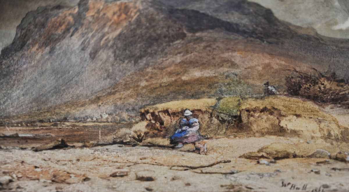 "W. Hull (1820-1880) English Watercolour ""Estuary Life at Low Tide"" 1861"