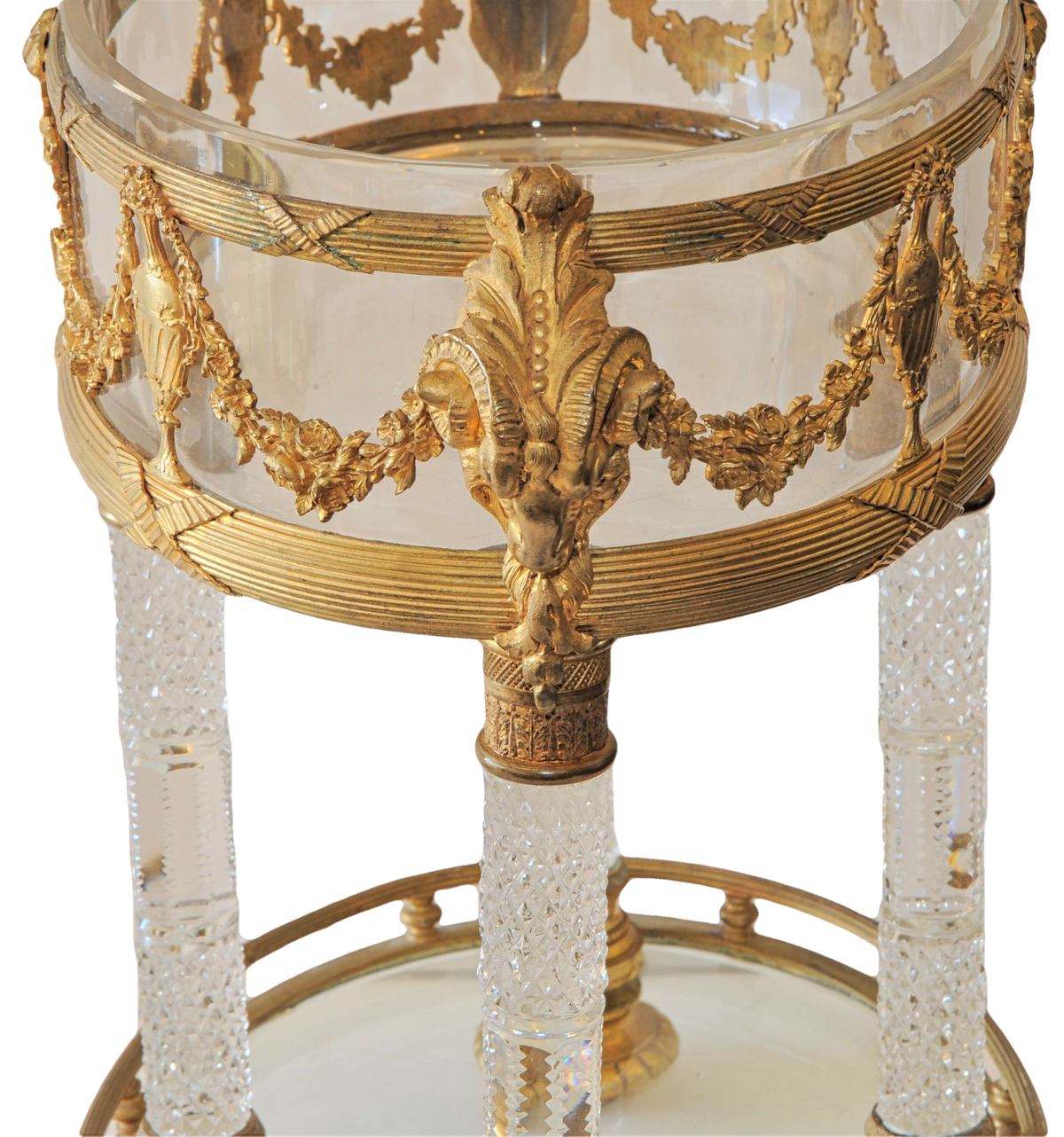 French Neo-Classical Ormolu and and Incised Crystal Center Bowl