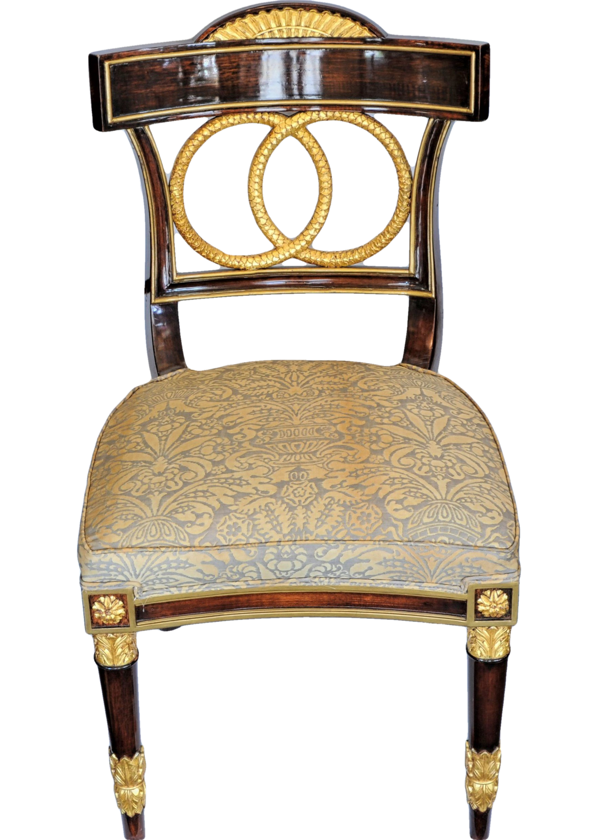 Four Russian Mahogany and Parcel-Gilt Side Chairs