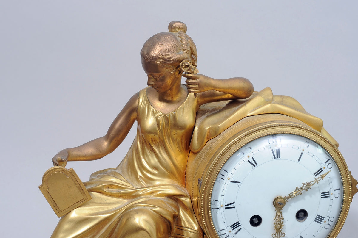 Ormolu and Marble French Empire Mantel Clock 19th Century