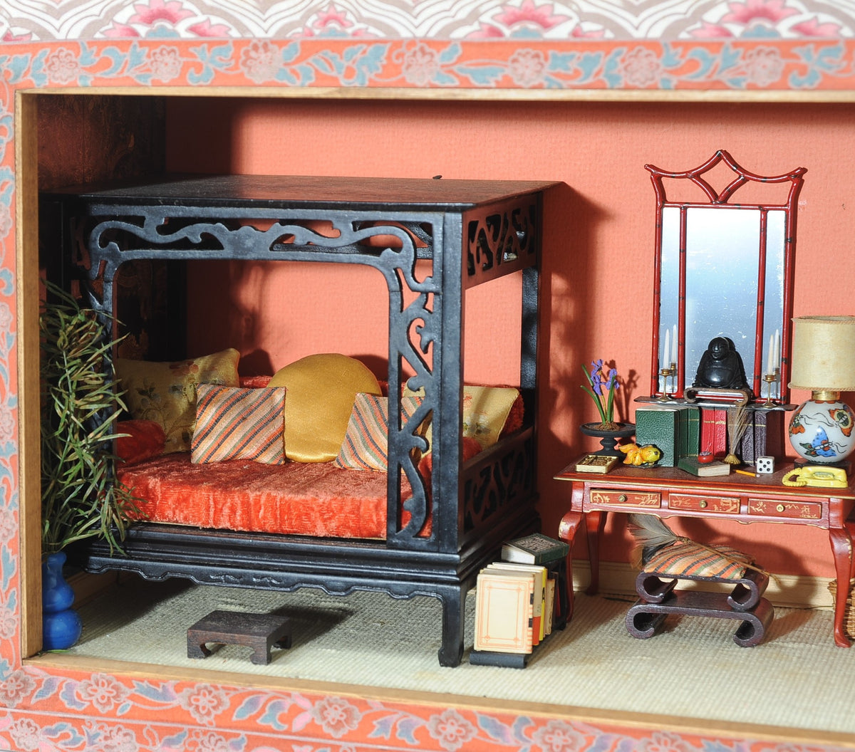 Room Model or Shadow Box with Miniature Furnishings in the Oriental Style