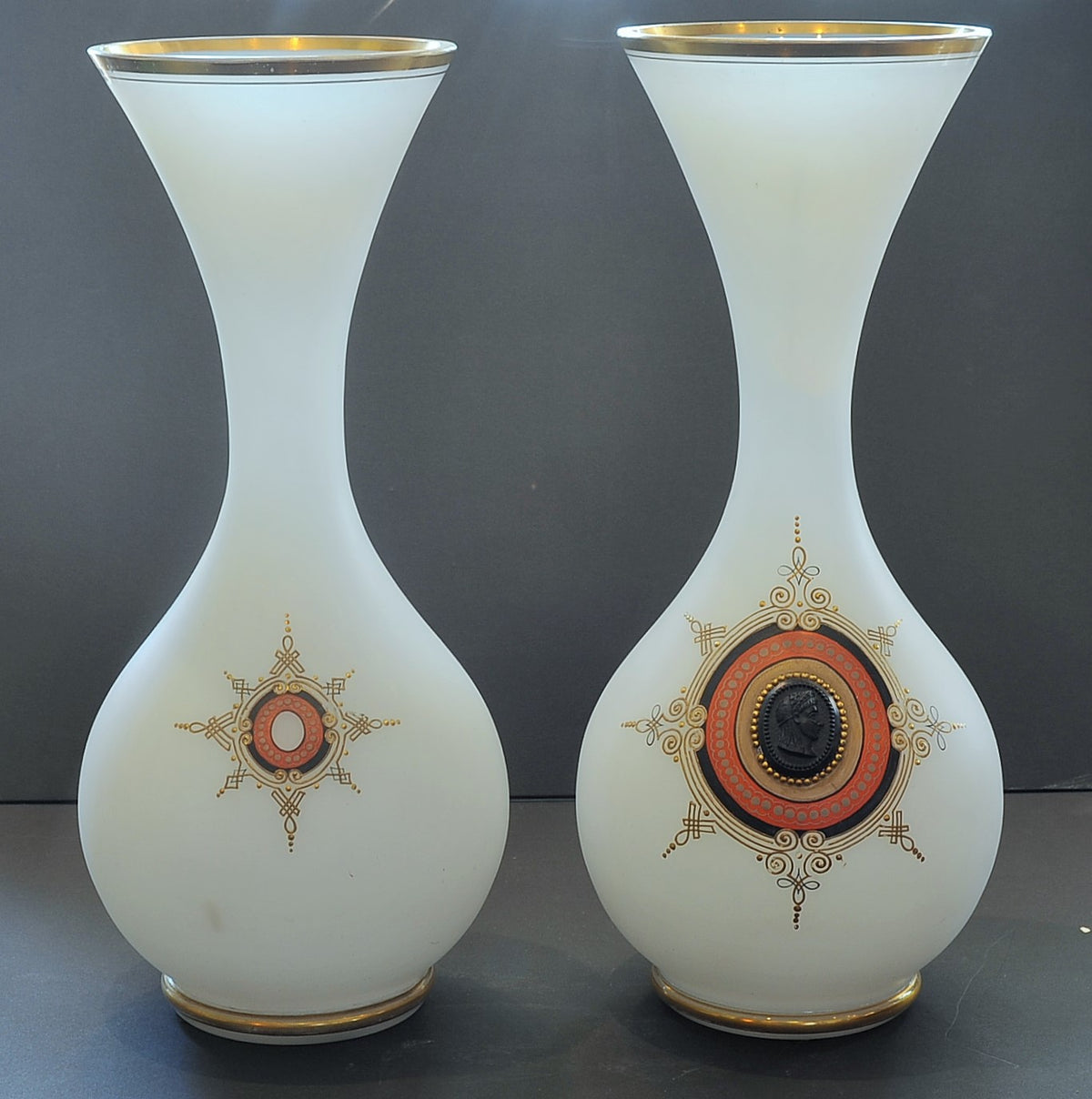 Pair of Large Bristol Glass Vases with Bronze Medallion. British