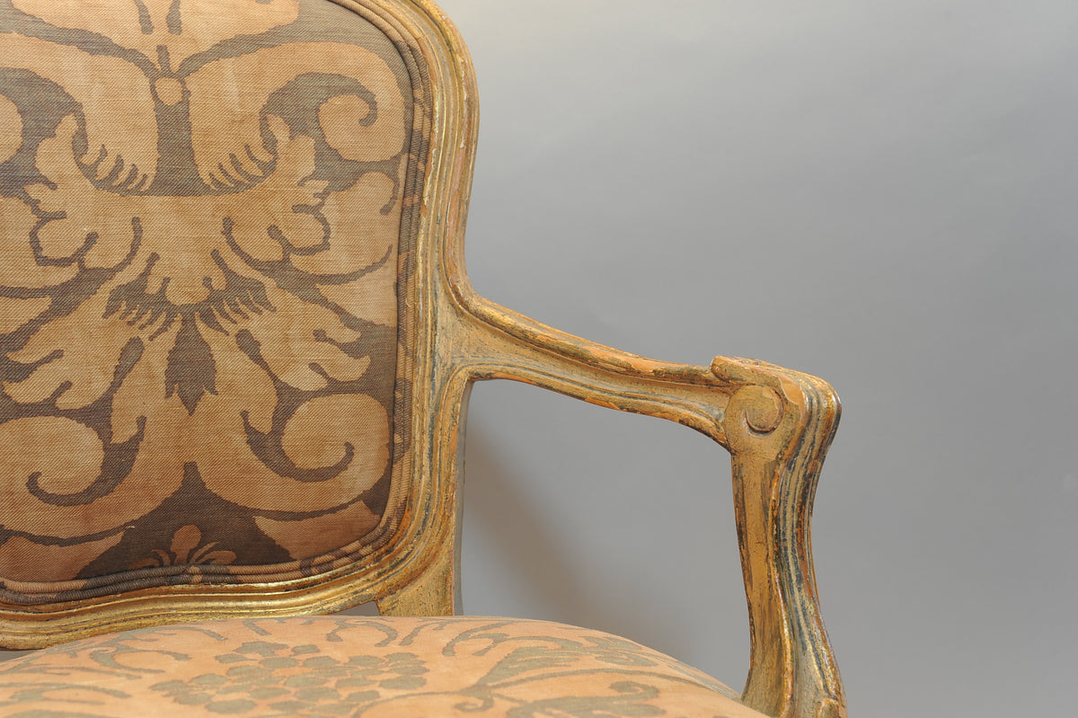 Louis XV Style, Child's Fauteuil or  Armchair with Fortuny Fabric. French