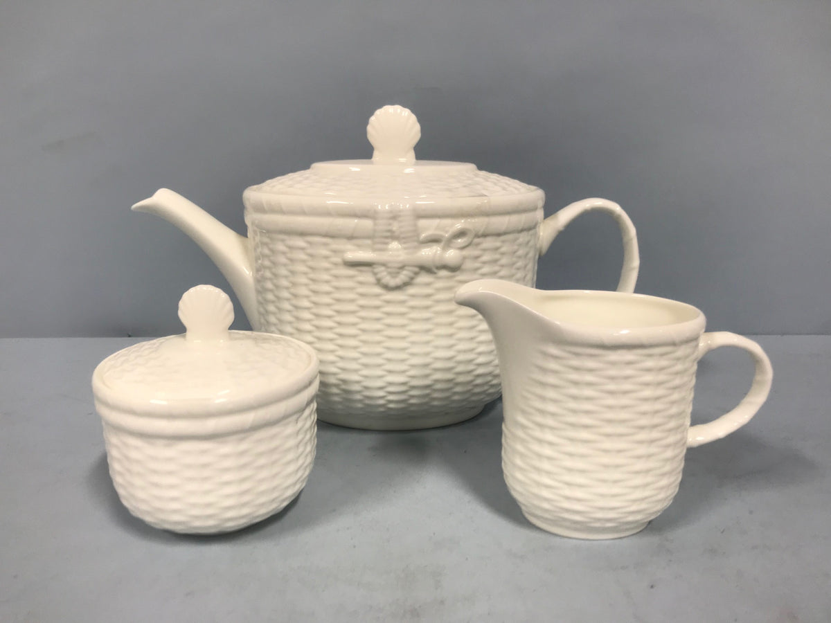 "Wedgwood ""Nantucket"" Teapot, Sugar & Creamer"