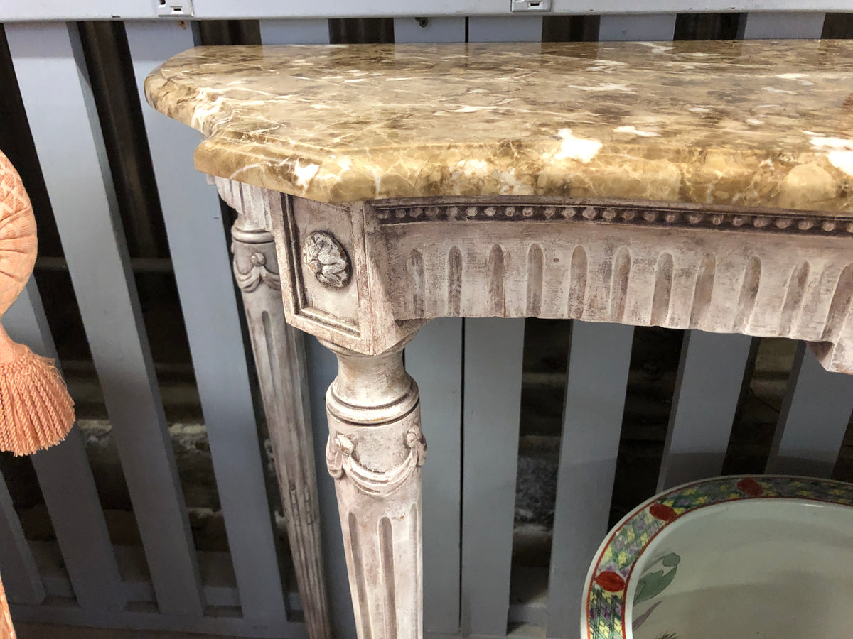 Wood Carved Marble Top Console