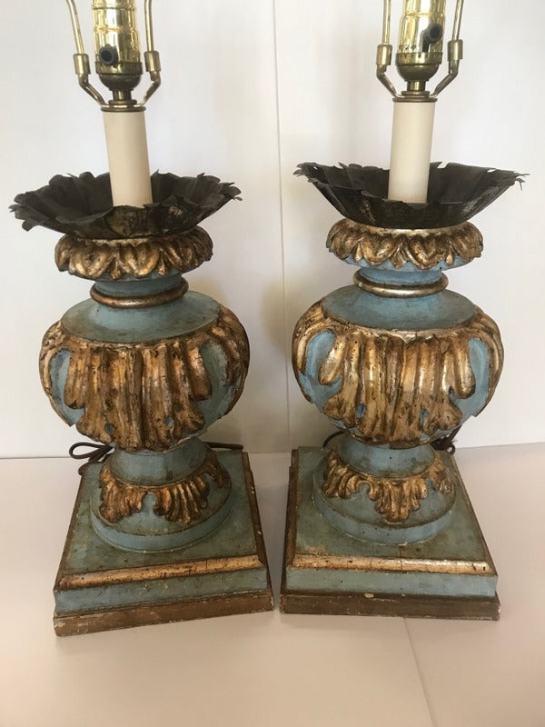 Pr. Italian Paint & Gilt Lamps