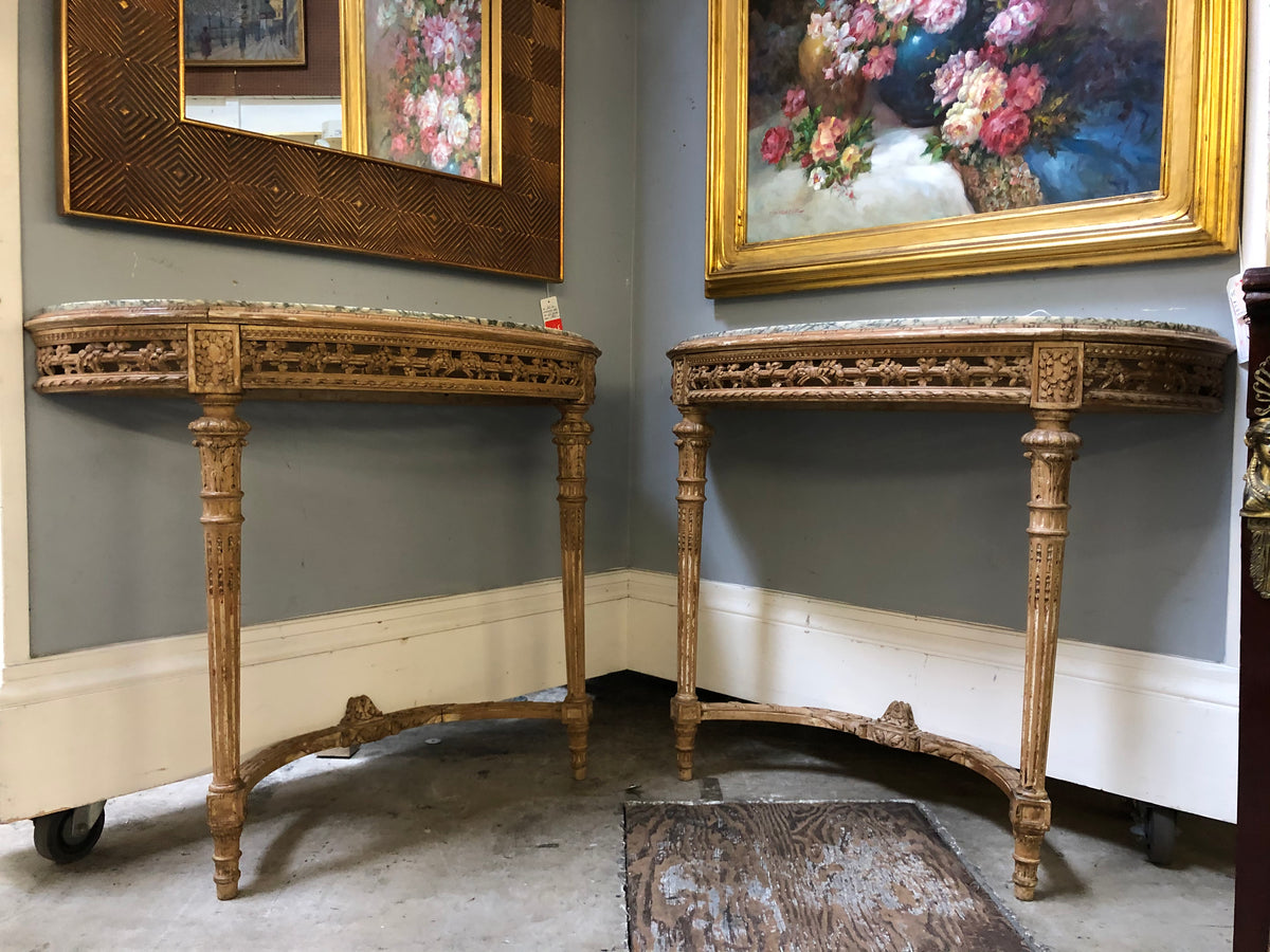 Pair of French Carved Console Tables