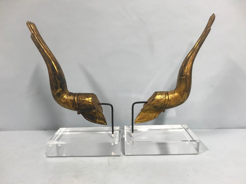 Pair Gilt/Wood Hands on Lucite Bases