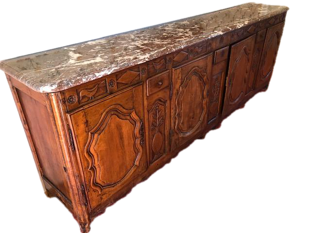 Massive French Country Style Marble Top Serving Table