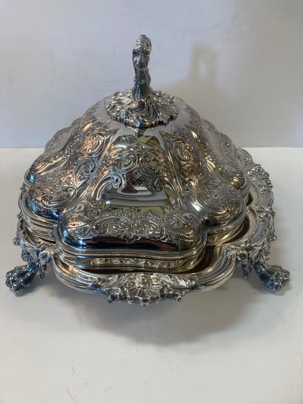 English Silver Plate Covered Server