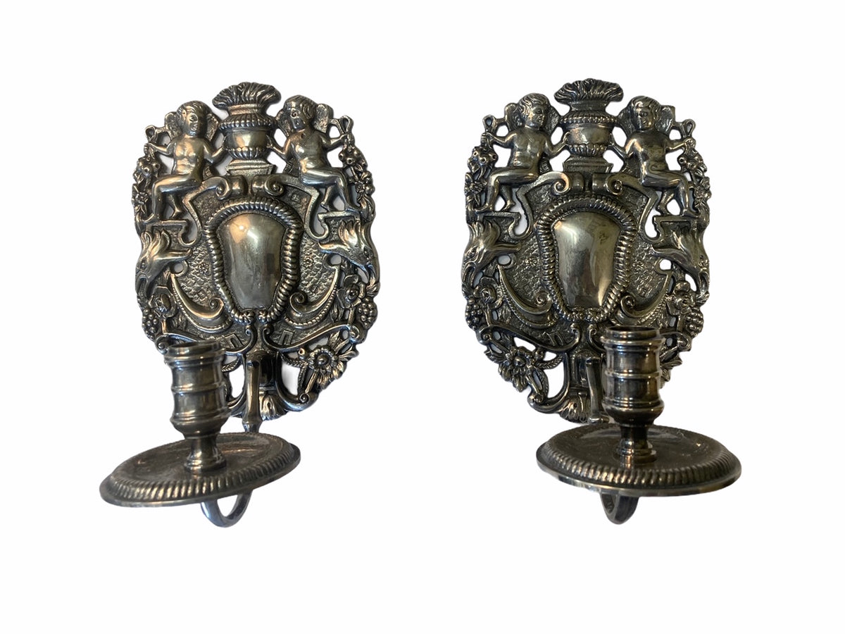 Pr. Silver Plate Figural Wall Sconces