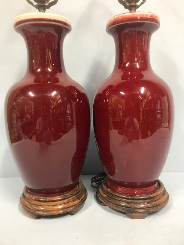Pair Flambe' Lamps