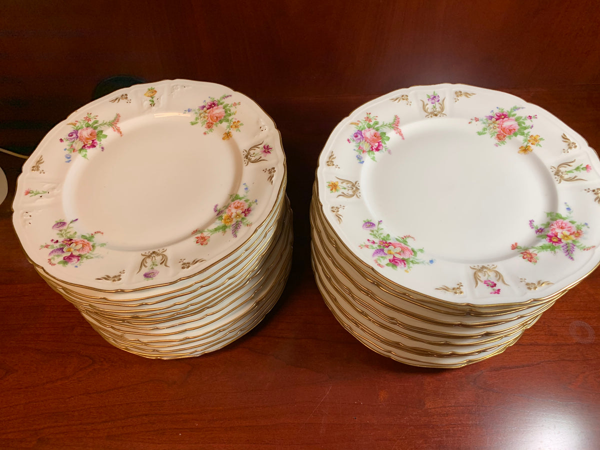 Charles Ahrenfeldt Limoges France Floral China 23 Dinner Plates