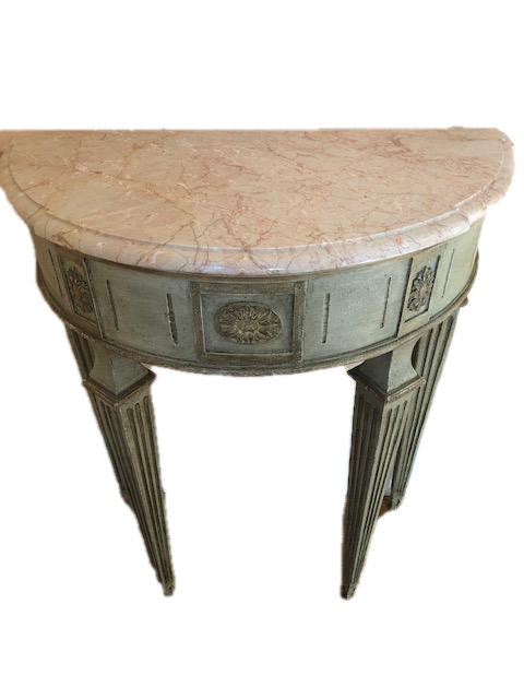Pair of Marble Topped, Demilune Consoles
