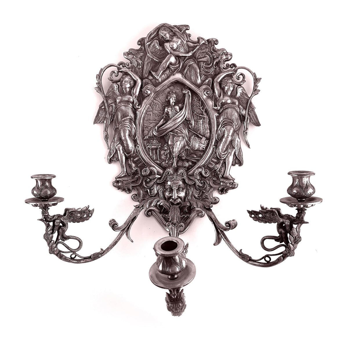 Pair Pewter Style Metal Sconces 'Bacchus' Motif