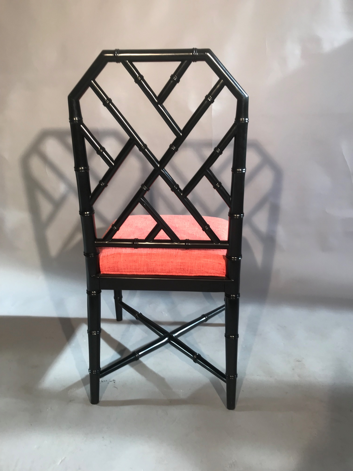 Black Bamboo Chair With Rose Fabric