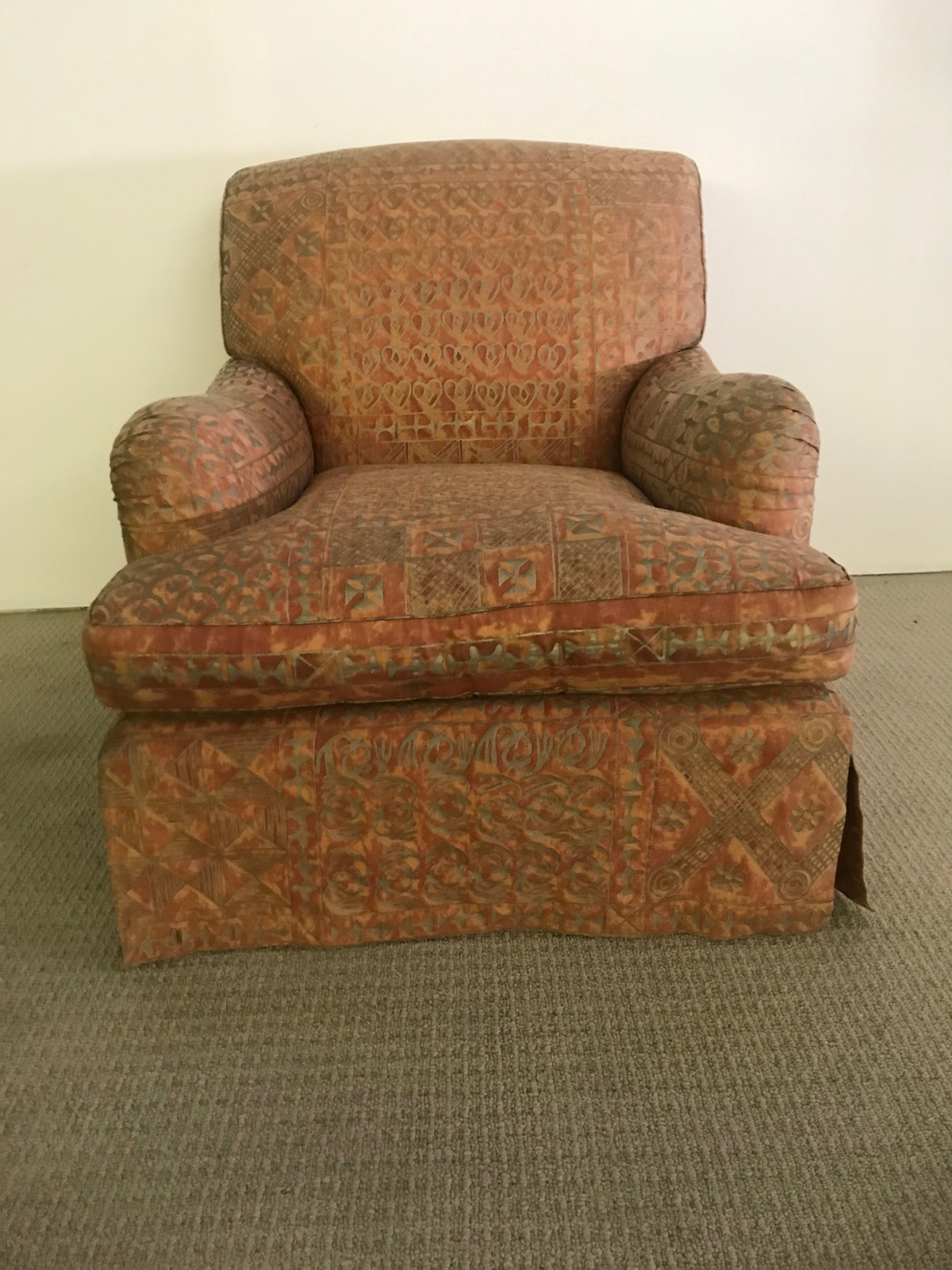 Custom Upholstered Chair & Ottoman Covered in Fortuny Fabric
