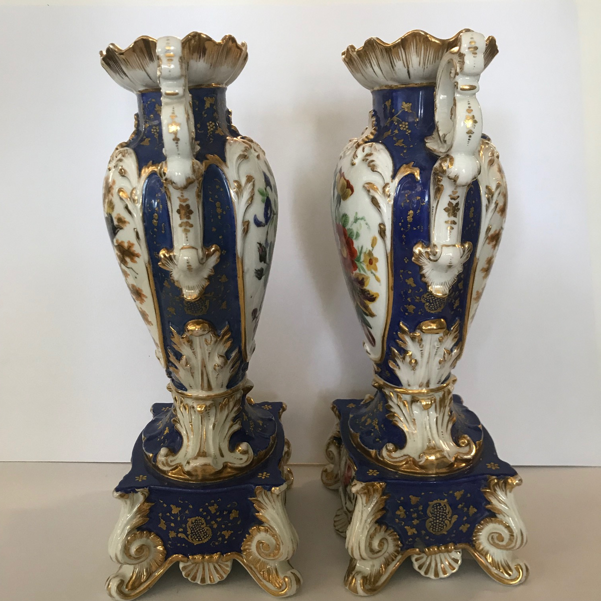 "Pair Blue Cobalt & Gold ""Old Paris"" Urns"