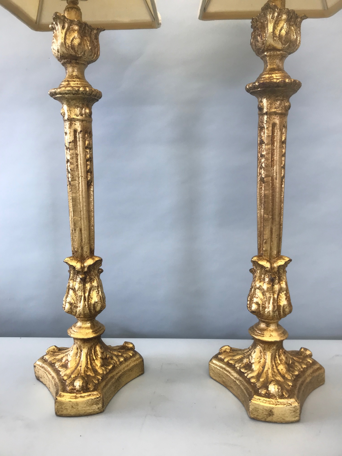 Pair Wood Gilt Lamps With Shades