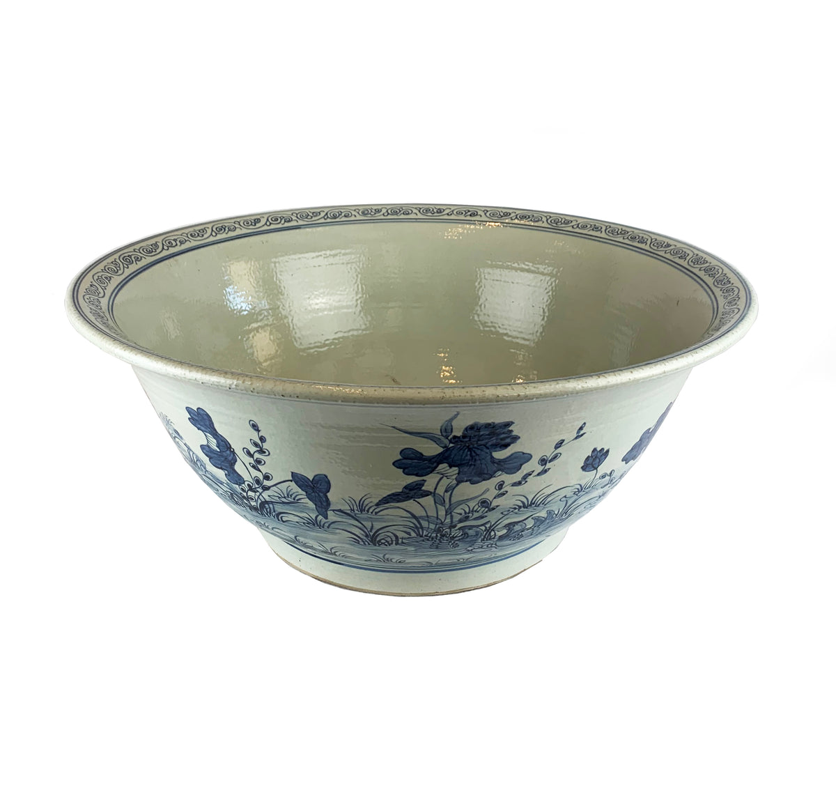 Large Blue and White Center Bowl