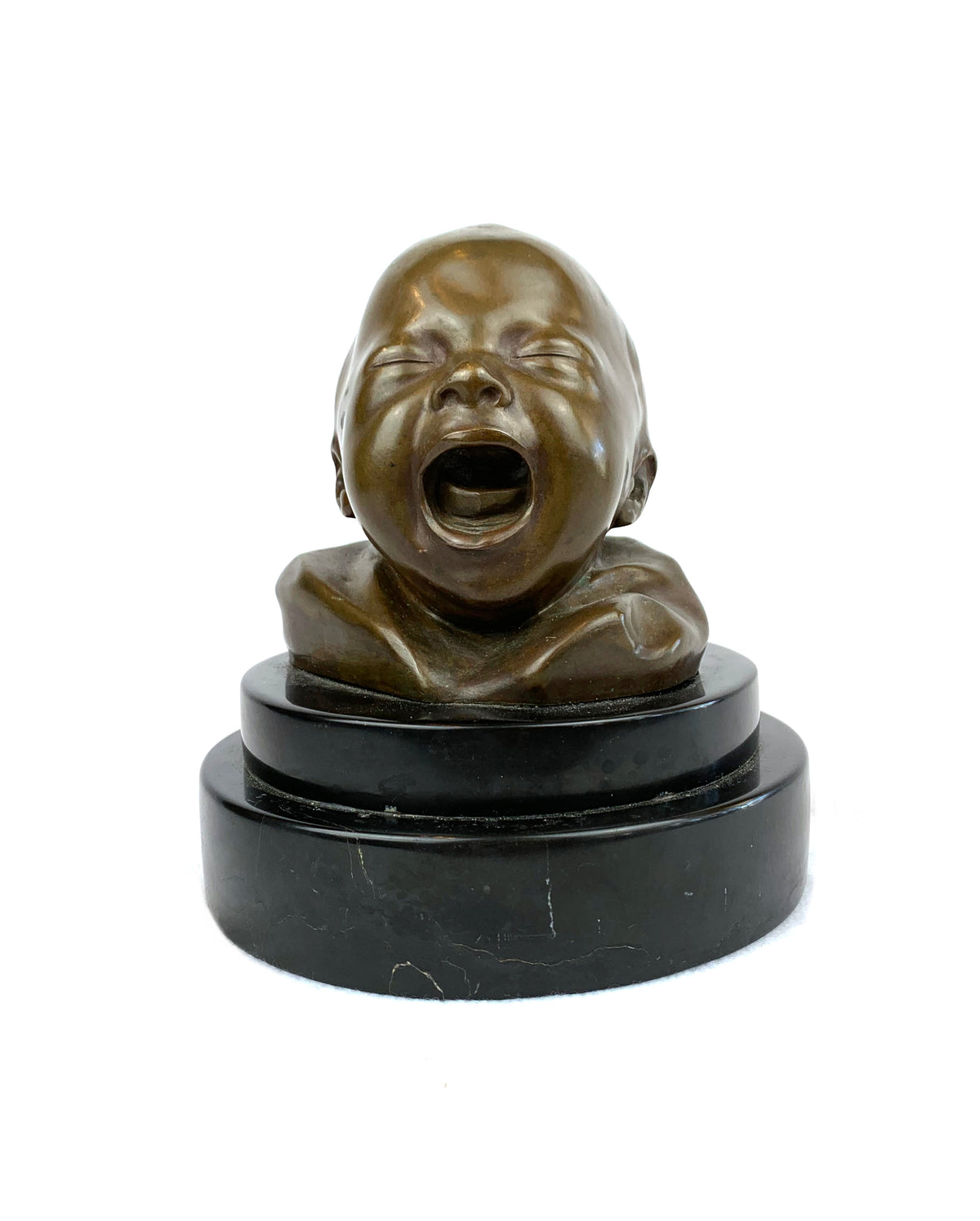 Bronze Head of Crying Baby by Di Balestrieri