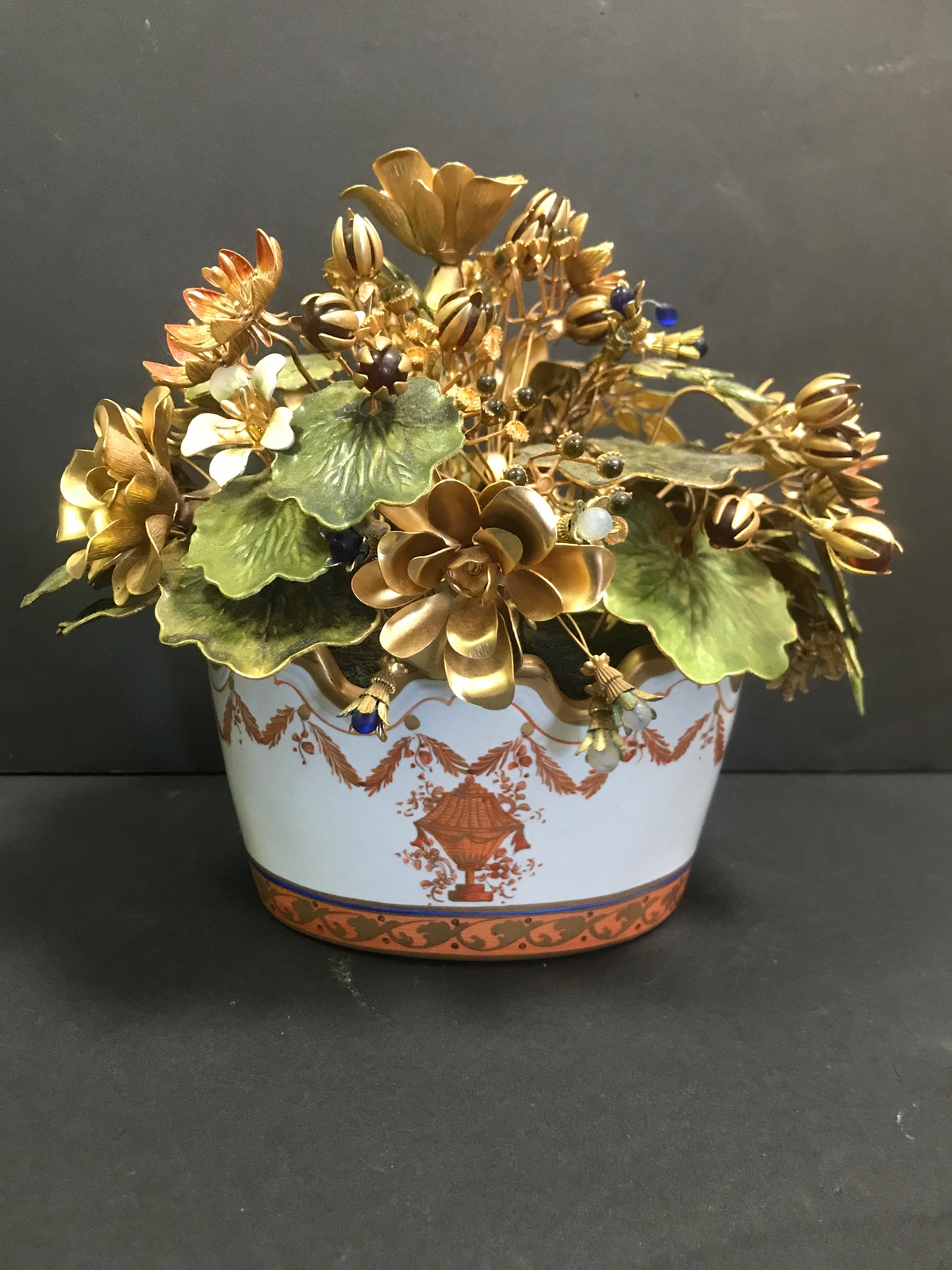 Porelain Cache Pot W/Painted Metal Flowers by Gorham