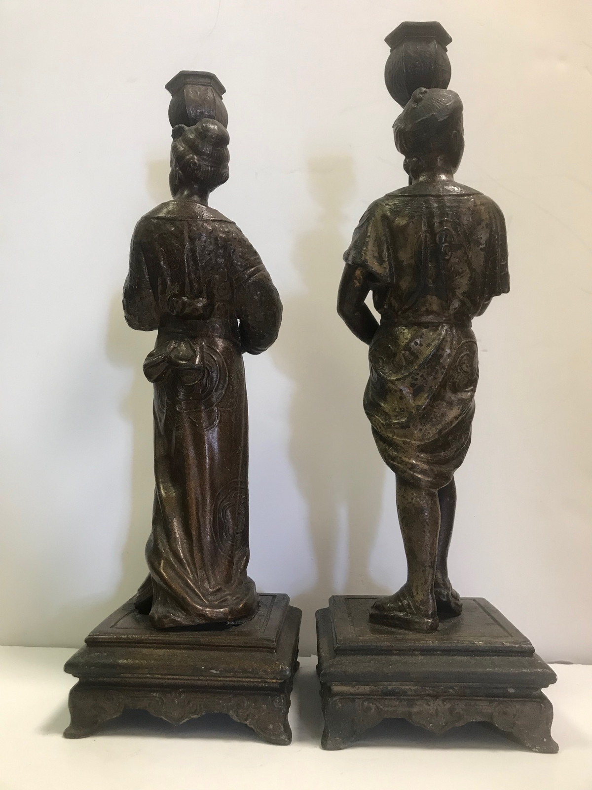 Pair Metal Figural Candle Holders