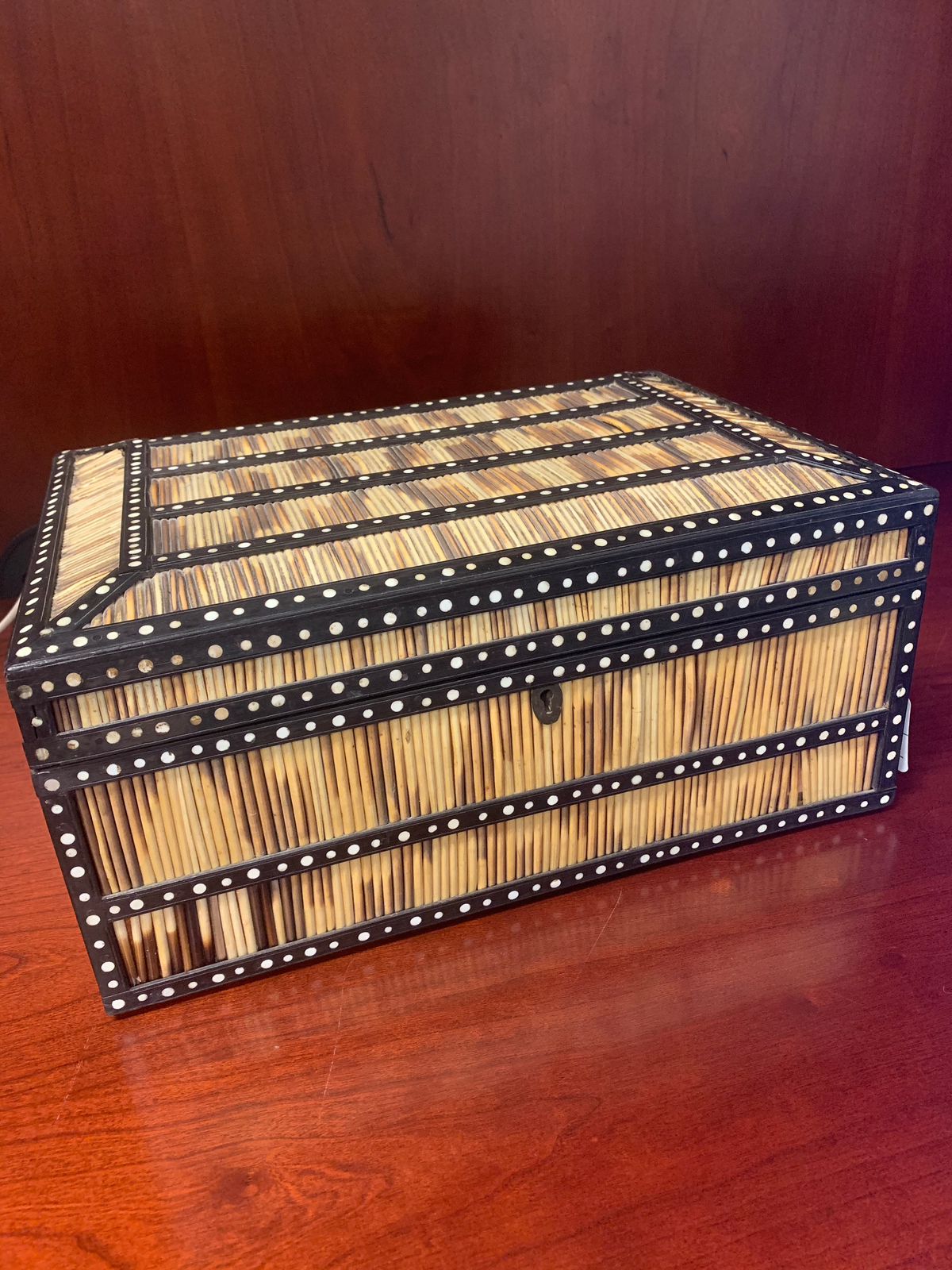 Anglo Indian Porcupine Quill Ebony & Bone Inlay Large Box