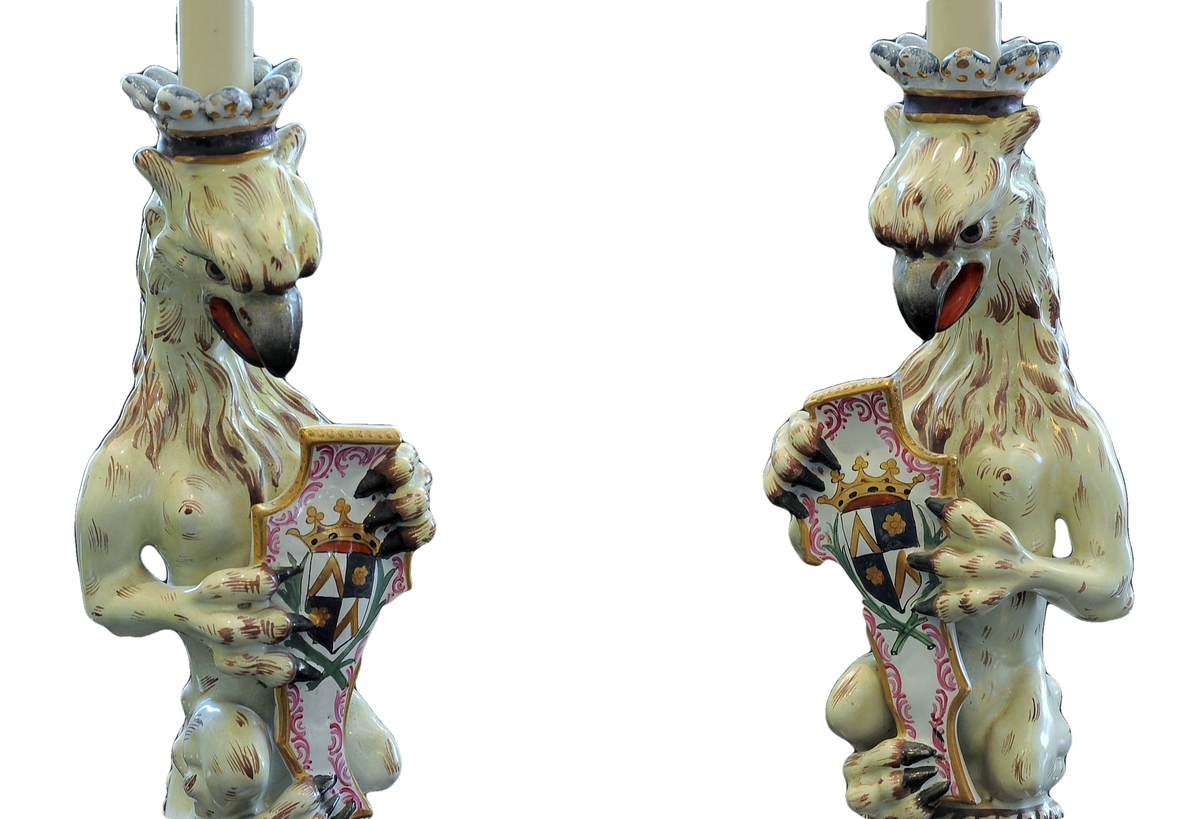 Opposing Pair of Porcelain Armorial Griffin Candlesticks or Lamps