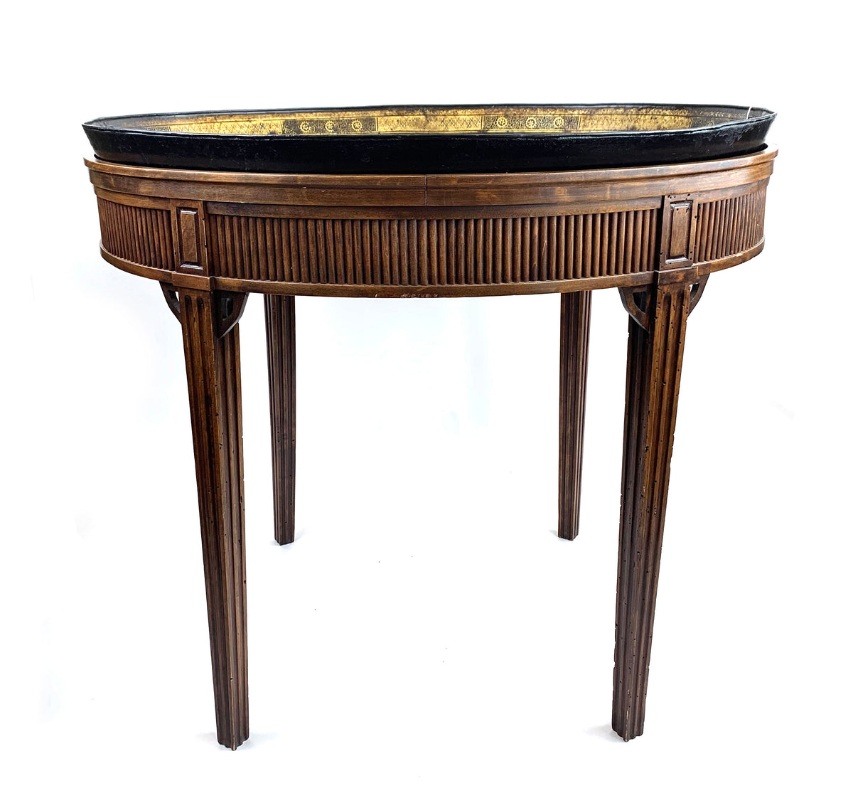 Tole Tray Table With Classical Scene