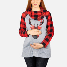 Christmas Lattice Splicing Elk Long Sleeves T - Shirt