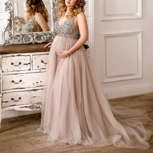 Maternity V-Neck Maxi Tulle Gown With Tonal Delicate Sequins