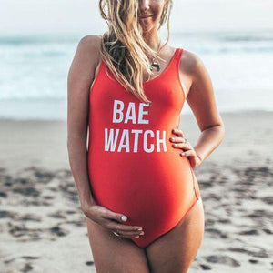 Maternity Letter Printing One-Piece Swimwear