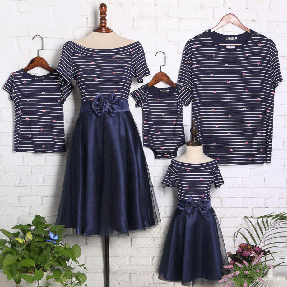Loving Hearts Stripes Family Summer Outfits