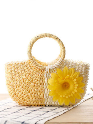Candy Color Straw Cute Floral Bag