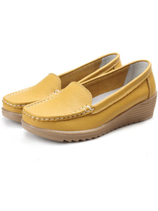 Plain Basic Solid  Round Toe Wedge Loafers & Flat
