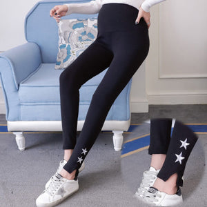 Maternity Star Pattern Side Slit Cut Abdomen Supportive Leggings
