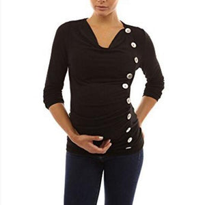 Maternity Button Decorated Cowl Neck Tee