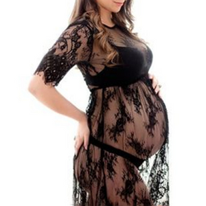 Maternity See-Through Lace Short Dress
