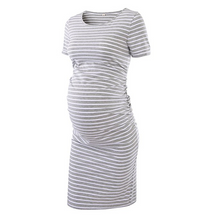 Maternity Stripe Ruched Bodycon Dress