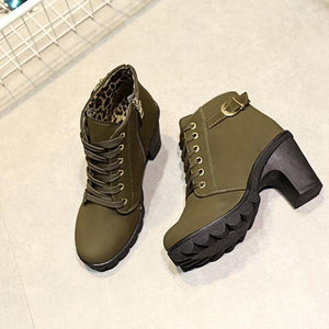 Rough High Heel Martin Boots