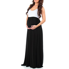 Maternity Sleeveless Ruched Color Block Maxi Dress