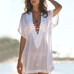 V-Neck See-Through Bikini Smock