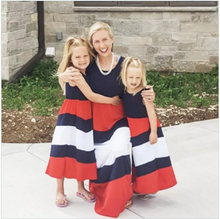July 4Th Outfit Mommy And Me Mom Girl Flower Blue Red Color Block Matching Dress