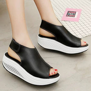 Casual Microfiber Leather Wedge Heel Magic Tape Sandals Woman Shoes