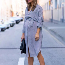Maternity Stripes Dress With Belt