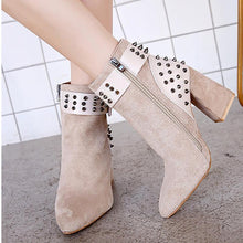 Belt Buckle Studded Suede Chunky Heel Boots